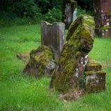 Mossy gravestones in Drymen, Scotland. Old, mossy gravestones in a graveyard in Scotland Stock Photo