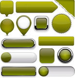 Mossy high-detailed modern buttons. Royalty Free Stock Photos