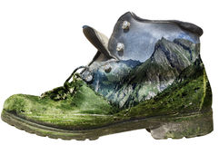 Mossy hiking boot isolated Royalty Free Stock Photo