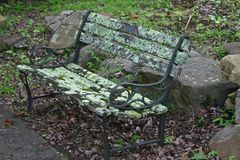 Mossy Park Bench Royalty Free Stock Photography