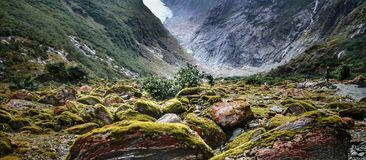 Free Mossy Rocks Pile Up In The Valley Under Franz Josef Glacier On New Zealand&x27;s South Island. Stock Photos - 161228593