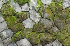 Mossy Rustic Stone Wall Stock Photo
