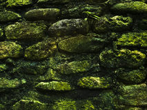 Mossy rustic stone wall closeup photo texture. Rough stone wall of ancient building. Green moss on stone closeup. Old masonry stonewall pattern. Empty wall Stock Images