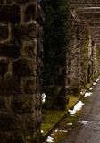 A mossy stonetunel with a gloomy ambience. Showing one side stock images