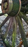 Mossy Wagon Wheel. An moss covered wagon wheel with shadow Royalty Free Stock Photo