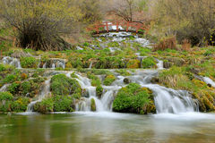 Mossy Waterfall and bridge Stock Photography