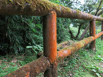 Mossy wooden balustrade. In a park near Hakone in Japan Stock Image