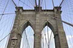 Mostów Brooklyńskich szczegóły nad Wschodnią rzeką Manhattan od Miasto Nowy Jork w Stany Zjednoczone Obraz Stock