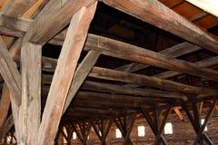 Most średniowieczny warowny kościelny Saschiz Keisd, Transylvania fotografia stock