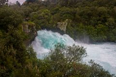 Huka falls. The most amazing falls in north island of new zealand,the ice blue water and the river like a jade belt Stock Photo