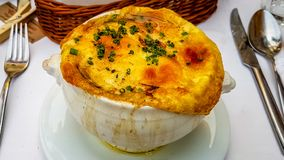 The most Amazing French Onion Soup in Budapest Hungary royalty free stock photos