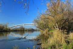 Most Austria nad Morava rzeką - słowak granica z Austria Obrazy Royalty Free