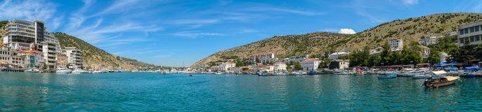 The most beautiful bay in the Black Sea. Panaroma of the Balaklava Bay, view from the sea of the city Stock Photo