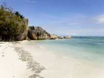 The most beautiful beach Anse Source d`Argent of the island of La Dig. The most beautiful beach of the island of La Dig on the Seychelles Islands stock image