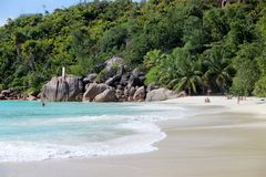 The most beautiful beach Anse Source d`Argent of the island of La Dig. The most beautiful beach of the island of La Dig on the Seychelles Islands royalty free stock photos