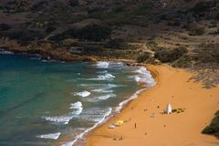 Ramla Bay, Gozo. The most beautiful beach of Gozo seen from above Royalty Free Stock Photo