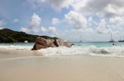The most beautiful beach of the island of Paslin. On the Seychelles Islands royalty free stock image
