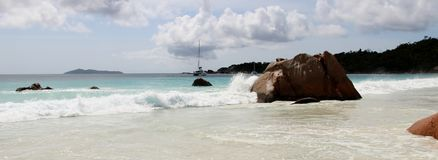 The most beautiful beach of the island of Paslin. On the Seychelles Islands stock image