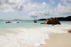 The most beautiful beach of the island of Paslin. On the Seychelles Islands stock photography