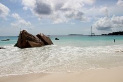 The most beautiful beach of the island of Paslin. On the Seychelles Islands stock photo