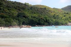 The most beautiful beach of the island of Paslin. On the Seychelles Islands royalty free stock images