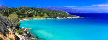 Most beautiful beaches of Crete island -Istron bay near Agios Ni Royalty Free Stock Photography