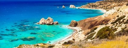 Most beautiful beaches of Cyprus - Petra tou Romiou Royalty Free Stock Photography