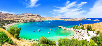 Most beautiful beaches of Greece - Lindos in Rhodes island Royalty Free Stock Images
