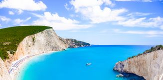 Most beautiful beaches of Greece series - Porto Katsiki in Lefkada. Ionian islands stock image