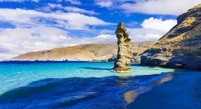 Beautiful beach of Greece. Tis grias to pidima. Andros island, royalty free stock photos