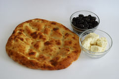 The most beautiful and best white background on breakfast with pide olives and cheese pictures Royalty Free Stock Photography