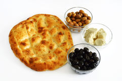 The most beautiful and best white background on breakfast with pide olives and cheese pictures Royalty Free Stock Images