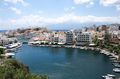 Most beautiful city landscape with marine at Crete, Greece stock image