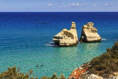 The most beautiful coast of Apulia: Torre Dell`Orso Bay, ITALY Lecce. stock photos