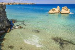 The most beautiful coast of Apulia: Torre Dell`Orso Bay, ITALY. The most beautiful coast of Apulia: Torre Dell`Orso Bay, ITALY Lecce.Typical seascape of Salento Royalty Free Stock Image