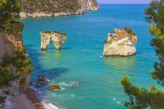 The most beautiful coasts of Italy:Baia dei Mergoli beach (Apulia). Stock Photo
