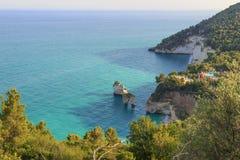 The most beautiful coasts of Italy:Baia dei Mergoli beach or Zagare Bay Apulia. Stock Photo