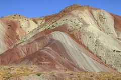 The most beautiful colorful mountains similar to eastern spices. In Tabriz, Iran stock photos