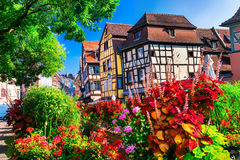 Most beautiful colorful towns - Colmar in Alsace, France. Beautiful Colmar,traditional multicolored houses and flowers,Alsace,France royalty free stock images