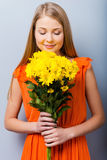 The most beautiful flowers for the most beautiful girl. Stock Photography