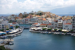 Most beautiful Greek city landscape with marine at Crete, Greece stock photography