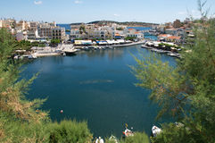 Most beautiful Greek city landscape with marine at Crete, Greece royalty free stock photo