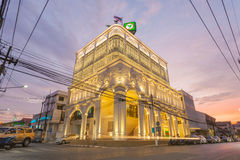 The most beautiful Kasikorn Bank building with Sino-Portuguese architecture style design in Thailand, start operate on 12 Jan 2015. Phuket, Thailand - December Stock Image
