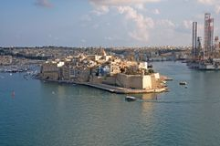 Malta, Three Cities, Most beautiful landscape of forts in Il Birgu Valletta. The most beautiful landscape of historic buildings in Il Birgu, one of the Three Stock Images