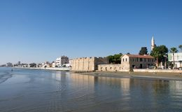 Most beautiful landscape of Larnaca - sandy beach and Fort, Larnaka Cyprus royalty free stock image