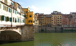 Most beautiful landscape of river Arno and Ponte Vecchio bridge, Florence, Italy Stock Image