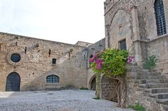 Most beautiful medieval square in Old Town of Rhodes Stock Photos