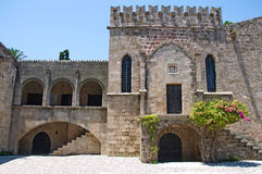 Most beautiful medieval square in Old Town of Rhodes Royalty Free Stock Photos