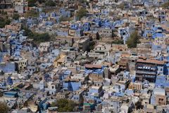 The blue city of Jodhpur in the Rajasthan, India stock photography
