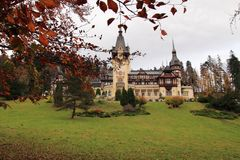 Peles Castle in the fall stock photos
